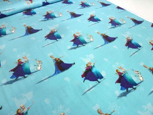 Stoff Baumwoll Jersey Eiskönigin Frozen Anna Elsa hellblau blau bunt Kinderstoff
