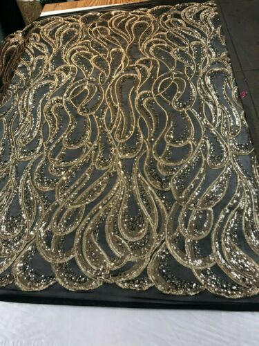 Gold Geometric Design Sequins 4 way Stretch Fabric on mesh lace by the yard