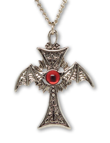 Gothic Winged Cross with Red Cabochon Pewter Pendant Necklace NK-585