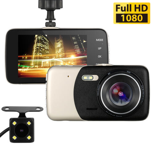 "HD1080P Dual Lens Car Van Dash Cam DVR Recorder 4/"" LCD With Rear Video Camera UK"