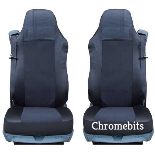 Paar/2 Schwarz Stoff Maßgefertigte Sitzbezüge für Man Lkw TGA Tgl Tgx Tgs Neu