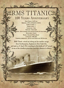 THE TITANIC 100TH ANNIVESARY DESIGNED METAL PLAQUE HOME DECOR MAN-CAVE GIFT