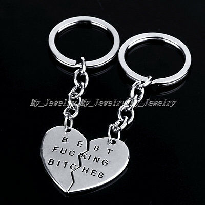Silver Best Friend Best Bitches Charm Pendant  Keyring Keyfob Keychain Gifts New