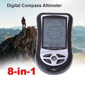 8 in 1 bussola LCD digitale altimetro barometro calendario orologio temperatur