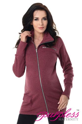 Across Body Zips Adjustable Pregnancy Sweatshirt Hoodie 9055 Purpless Maternity