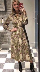 7c8f333dc8c22 William Morris H&M Calf Length Shirt Dress BURGUNDY GREEN FLORAL US ...