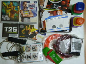 NEW* Large lot Beachbody DVD+resistance bands+books+jump rope MANY FREE GIFTS