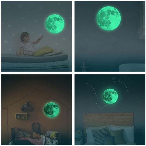 Home Bedroom DIY Luminous Moon Glow in the Dark Wall Sticker Moonlight Decor US