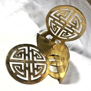 Antique-Chinese-Brass-Bookends-Traditional-Asian-Design-Vintage-Old-Decor-Rare