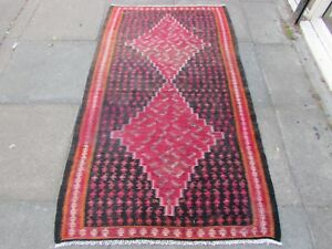 Old-Traditional-Hand-Made-Persian-Oriental-Wool-Red-blue-Kilim-Rug-180x105cm