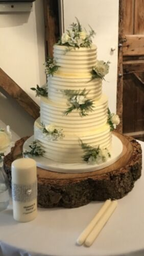 """20/"""" Rustic Log slice centre piece ring wooden wedding cake stand"""
