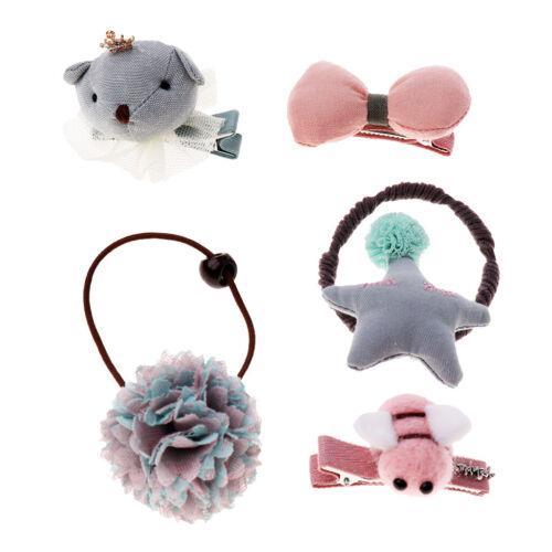 5Pcs//set Baby Girl Hair Clip Bow Flower Barrettes Party Kids Hairpins Headwear