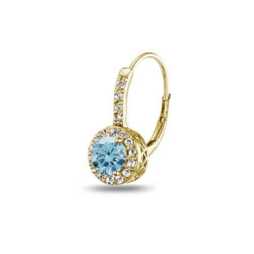 Light Blue Halo Leverback Boucles d/'oreilles avec cristaux Swarovski en argent plaqué or