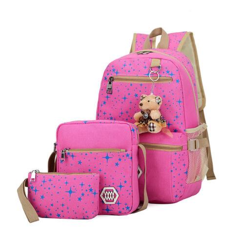 3pcs//Set Backpack Womens Canvas Travel Bookbags School Bags for Teenage Girls UK