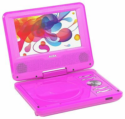 "Alba 7"" Inch Swivel Screen Portable DVD Player in Pink with Remote Control."
