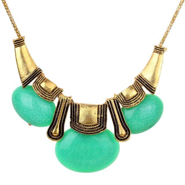 Ethnic Style Bronze Green Oval Stone Bib Statement Necklace Women