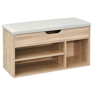 HOMCOM-Shoe-Bench-2-Tier-Shoe-Rack-With-4-Compartment-MDF-Sponge-Living-Room
