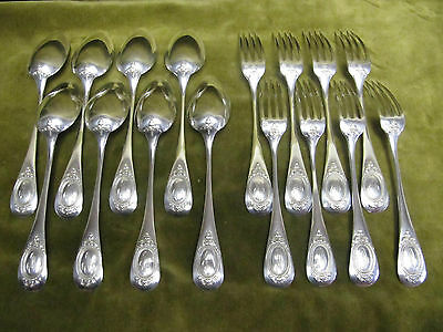 late 19th c french sterling silver dessert luncheon cutlery set 16p Louis XVI
