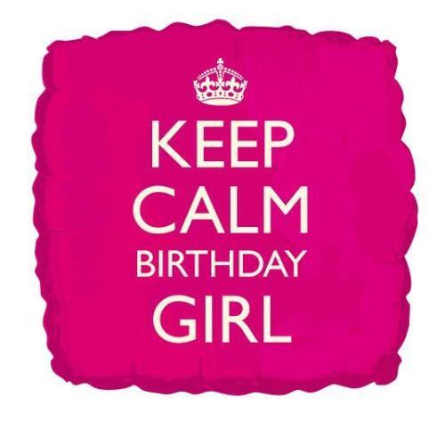 Keep Calm Cumpleaños Chica 18 pulgadas globo de la hoja