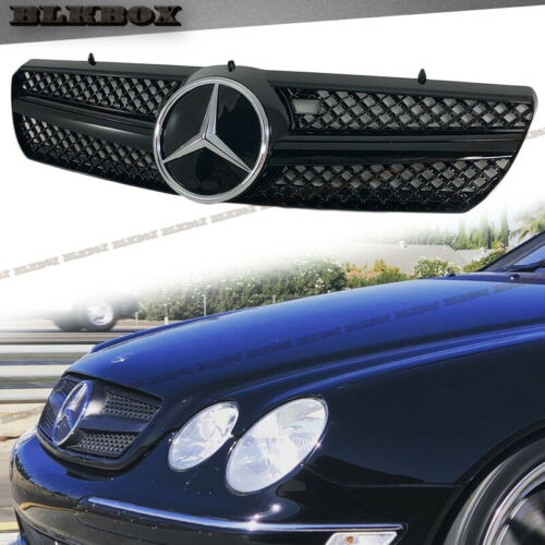 Fit BENZ 00-06 W215 CL-Coupe Front Bumper Grille Chrome Gloss Black B-DCL Look