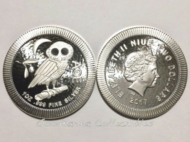 2017 Niue $2 Stackable Athenian Owl 1 oz .999 Silver Round BU Bullion Coin