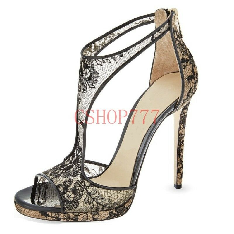 New Womens Sexy Peep Toe T-strap High Heels Formal Formal Heels Court Hollow Out Party Shoes e2b9b3
