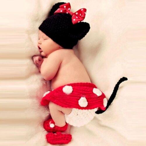 Set 4 Teile für süße Baby Maus Fotos Fotoshooting Hose Socken Mütze Kostüm rot