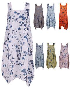 Womens-Italian-Lagenlook-Quirky-Balloon-Shape-Boho-Tulip-Linen-Floral-Vest-Dress