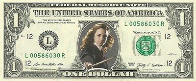 Hermione Granger / Emma Watson (Harry Potter) {in COLOR} - REAL Dollar Bill
