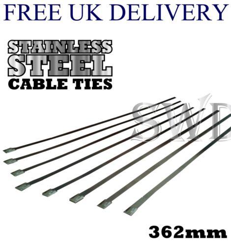 8x 362mm Edelstahl Kabelbinder für Hitze Ummantelung Auspuff Bandage Metall