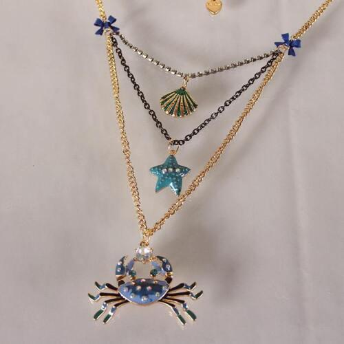 N492 Betsey Johnson crabe bleu avec Gem yeux été plage Scuba Collier US
