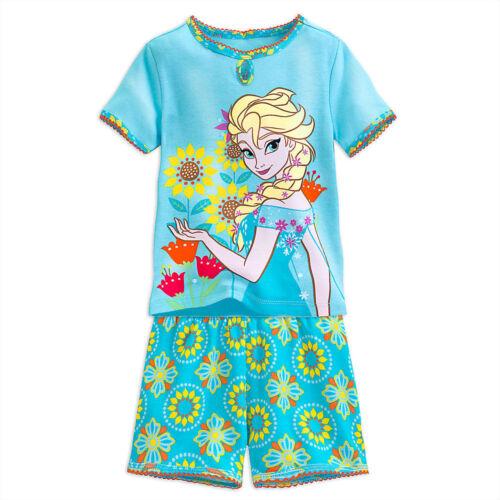 Disney Store Frozen Elsa Anna 2 PC Short Sleeve Tight Fit Pajama Set Girl Size 7