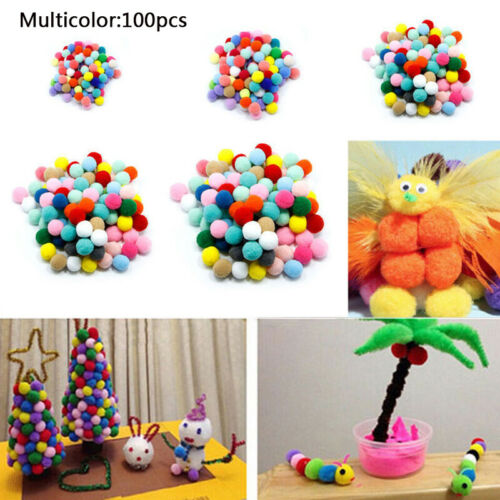 100PC Fluffy Pompoms Pom Poms Ball Kids DIY Crafts Accessories 1-3cm Mixed Color