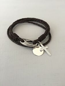 Image Is Loading Religious Leather Braided Bracelet Silver Cross Engraved