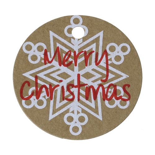 """10//20  Kraft Card  Round Gift Tags printed with snowflake and /""""Merry Christmas/"""""""
