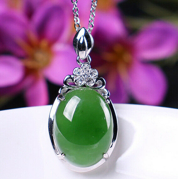 D02 Pendant Oval Green Jasper Decorated with Zirconia