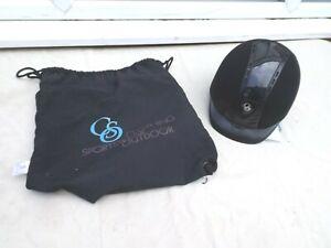NEW-CS-OUTDOOR-RIDING-HAT-BLACK-SUEDE-ADJUSTABLE-HEADBAND-SIZE-S-50-gt-53-CM-BAG