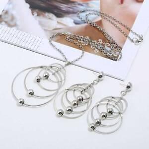 Colgante-Moda-Mujer-Collar-Pendientes-Largos-Conjunto-de-Joyas-Nuevo-Elegante
