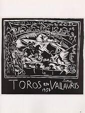 """1989 VINTAGE """"TOROS EN VALLAURIS"""" BULLS PICASSO Color offset Lithograph"""