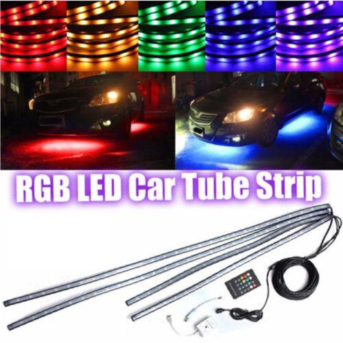 4X RGB LED Strip Under Car Tube underglow Underbody Neon Lights Kit Waterproof