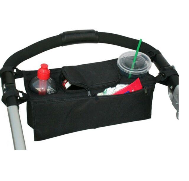 Kids Baby Stroller safe console tray pram hanging black bag/bottle cup holder
