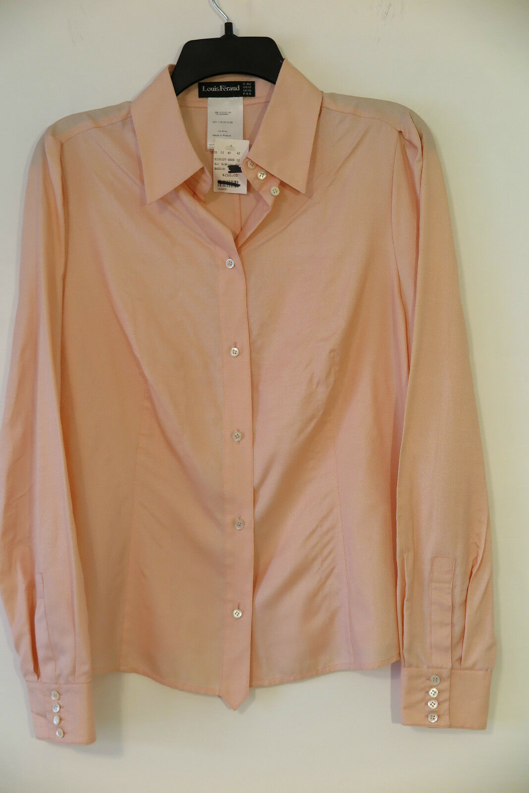 NWT Louis Feraud Salmon Button Down 100% Silk Shirt Größe US 12 MSRP