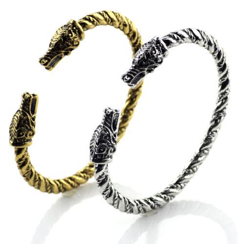 2017 Wolf Head Fenrir Viking Bangle Bracelet two Headed Wristband Cosplay 2Color