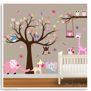 Animal owl wall stickers monkey jungle tree baby nursery for Baby room jungle mural