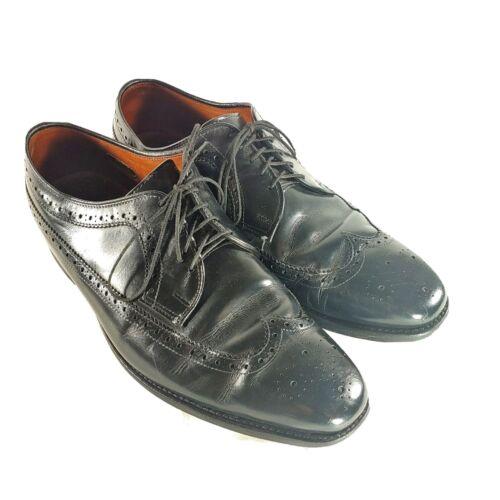 Allen Edmond Mens 10 D Black Wingtip Dress Shoes