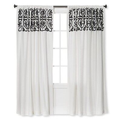1 Threshold Scroll Linen Embroidery Window Panel Sour