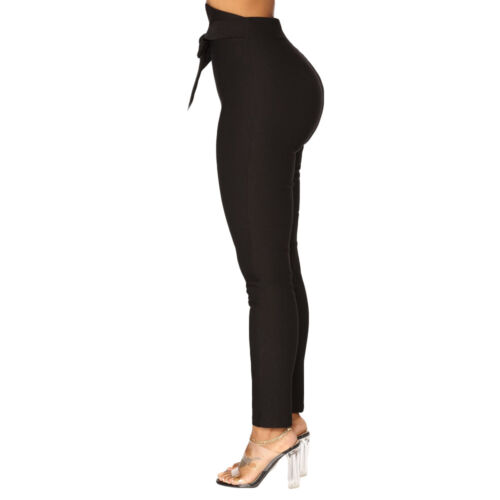 Women Solid Color High Waist Bow-knot Trousers Ladies Casual Slim Pencil Pants