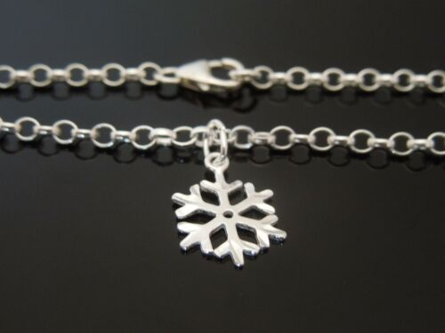 """3mm Sterling Silver Bracelet Or Ankle Chain ~ Snowflake Charm 7/"""" 8/"""" 9/"""" 10/"""" 11/"""""""