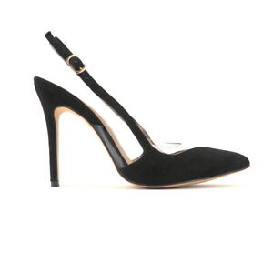 afcb26eefbb Details about Black Suede & Clear PVC Panels Pointed Toe Slingback High  Heel Pumps Sz 5.5-10