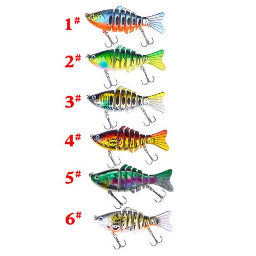 6PCS Fishing Lure Multi Jointed Swimbait Crankbait Hard Bait Treble Hook Bait